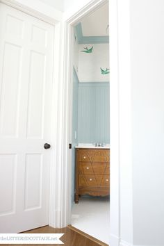 cottag, downstairs bathroom, bathroom updates, perfect wallpap, old dressers