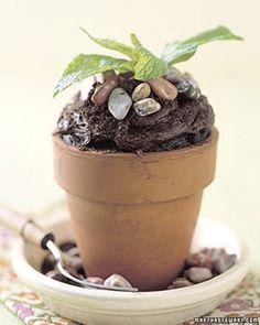 """Martha Stewart flower pot """"dirt"""" cupcakes"""