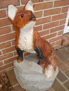 Chainsaw Wood Carved Fox