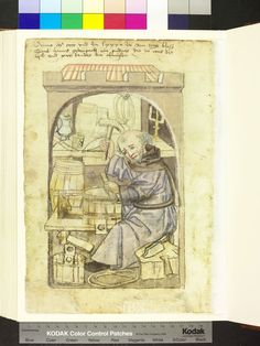 A cooper using his shaving horse as a workbench to make a bucket. The Mendel Hausbüch: Amb 317.2 ° folio 103 verso