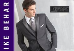 Starting August 24 we will have this Charcoal Grey Ike Behar available! With a tailored fit this 2 Button inset satin notch tuxedo in Charcoal Grey has besom pockets, side vents and nested with a flat front satin striped trouser.      Register now for 2013 and 2014!  www.TuxedoJunction.com