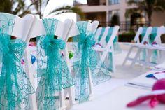Destination wedding, Dreams Riviera Cancun, cancun wedding, Mexico wedding, destination wedding ceremony setup, chair sash, teal and pink wedding, beach wedding
