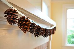 holiday, fall crafts, christmas, garlands, decorations, mantl, pine cone crafts, pinecon garland, cone garland