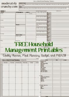 Everything you need to run a household- weekly planning pages, budgets, meal planning, contacts, website tracker, birthday calendar, and notes pages. All FREE to print!