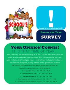 $1 This Student End of Year Exit Survey provides teachers with the feedback they need at the end of the year to better their classes and better themse...