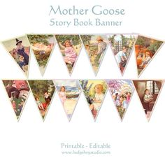Mother Goose Story Book Banner for Evie's room