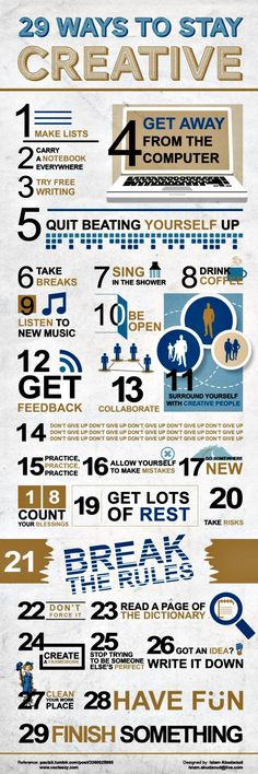 29 Ways to Be Creative ~ A great #infographic  with a variety of #tips on how to keep your #creative juices flowing.