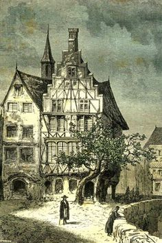 The house on the Konigstrasse.  CLICK THROUGH for the whole collection of old illustrations for Journey to the Centre of the Earth..