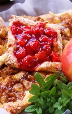 Apple and Cherry Danish Tarts - pretend you are a baker even if you are not.  SUPER easy and delicious!