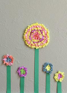 flower crafts, tissue paper flowers, kid