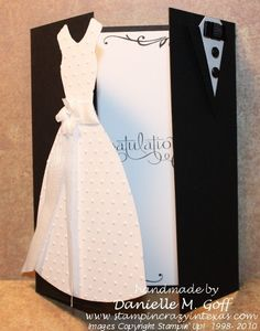 Wedding Card tri fold opens with dress just past center line card idea, wedding cards, cards with dresses, dress folding cards, the dress, the bride, gift cards, fold open, bride groom