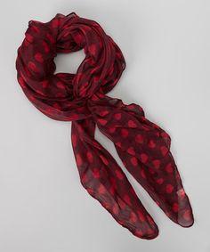 Burgundy & Berry Heart Scarf #zulily #zulilyfinds