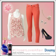 This Bright n' Bubbly look was inspired by Downy Infusions Honey Flower and Downy Unstopables Shimmer. You'll be sure to look on the bright side whenever you wear these coral pants and dazzling accessories. To shop this look, visit the LC Lauren Conrad collection available only at Kohl's. To register for the #ClosetLoveAffair sweepstakes visit https://downy.promo.eprize.com/pinterest/.
