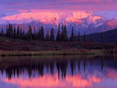 denali nation, mountains, sunset, dream vacations, alaskan cruise, landscape photography, national parks, lake, place
