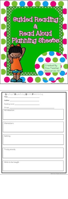 FREE Guided Reading and Read Aloud Planning Sheets are included with a download of this product!