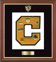 Canton Central School in New York Varsity Letter Frame - Showcase your varsity letter in our Newport solid hardwood shadowbox frame in cherry finish with black accents and gold lip with hand embossed Canton Central School logo, on our black and white museum quality matting. A personalized engraved plate is included.