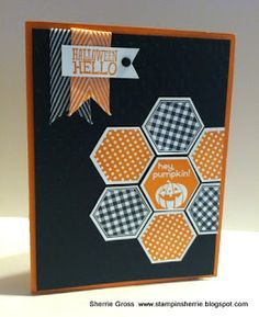 handmade Halloween card ... hexagon quilt flower in orange and black ... like the balance between the banner sentimnet and the off the edge glower ...  Stampin' Up!