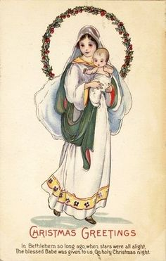 Vintage Christmas Cards, madonna and child