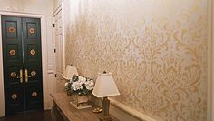 Metallic Paints on Door and Stenciled Walls | Modern Masters | Project by Sylvia Thompson