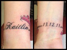 kaitlin tattoo princess wrist crown pink girly