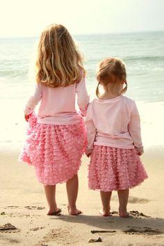 Ruffles. beach photos, little girls, matching outfits, ruffl, at the beach, pink outfits, little sisters, beach girls, kid