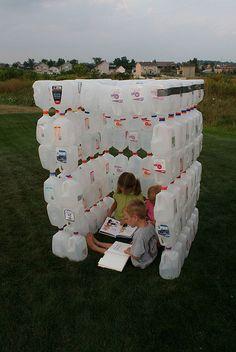 milk jug fort - easier than the igloo
