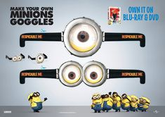 Despicable-Me Movie Night: -Minion-Goggles.jpg (1816×1285) minions, party favors, birthday parties, despicable me 2, birthdays, wallpapers, minion parti, minion party, minion goggl