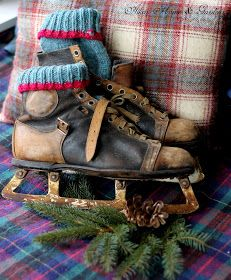 Old skates and blankets houses, countri christma, christmas, christma idea, christma plaid, gardens, skating, decorations, blankets