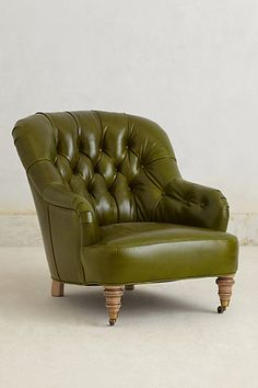 Bolero Corrigan Chair. #Anthrofave leather chair, living rooms, green, living room chairs, anthropologie, corrigan chair, reading chairs, club chairs, boleros