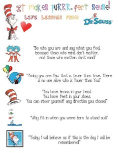 Seuss Chart with Inspirational Quotes for your Classroom!