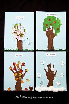so cute! season, project idea, hand prints, tree crafts, hand art, art activities, art projects, kid, appl