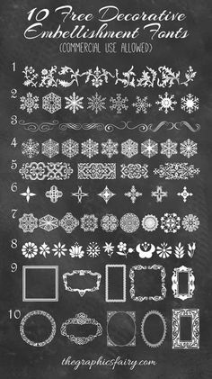 DIY 10 Free Dingbat Fonts from The Graphics Fairy here.For more unique fonts that I've posted (monograms, unicorns, famous movie and character fonts, dingbats etc…) go here:truebluemeandyou.tumblr.com/tagged/fonts