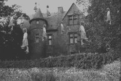 Creepy creepi, mansion, horror movies, art, white, savag, gif, black, kid
