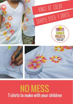 An easy t-shirt project to make with your children - the fun of tie-dye with no mess! #endlesssummerprojects
