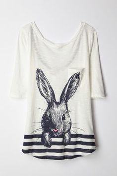 rabbit, fashion, style, creatur featur, featur top, anthropologie, creature feature, top anthropologi, shirt