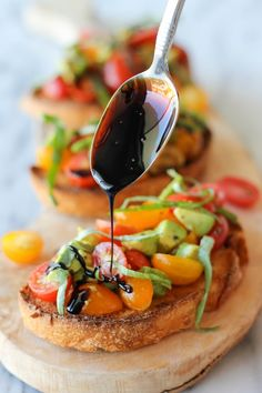 Avocado Bruschetta with Balsamic by damndelicious: This bruschetta recipe brightens up the smooth texture of ripe avocado with the juicy tartness ... #Bruschetta #Avocado