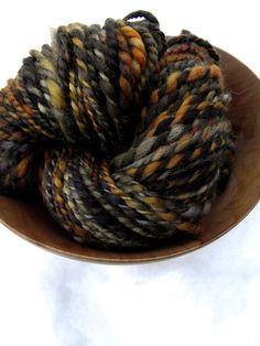 Handspun yarn, handpainted thick and thin hand dyed BFL wool yarn, OOAK 2 ply bulky yarn-HAUNTED