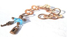 Charm Copper Bracelet Lock And Key  And Blue by MonasCreationsFL, $17.00