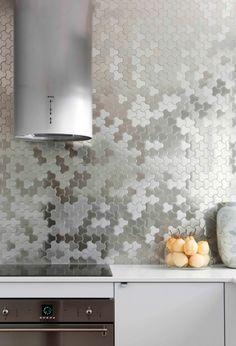 Metallic kitchen tiles backsplash tile, interior, kitchen tile, contemporary kitchens, metal, wall tiles, kitchen renovations, karim rashid, stainless steel
