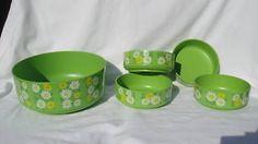 "4 Green Daisy 5.5"" bowl 1 lg Alladinware vintage melmac"