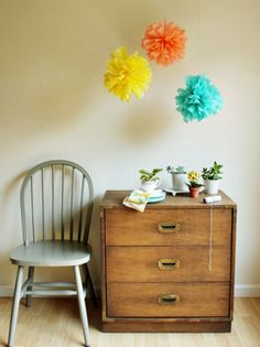 creating a focal point over a dresser craft, idea, crepes, diy crepe, paper pom poms, papers, diy projects, crepe paper, parti