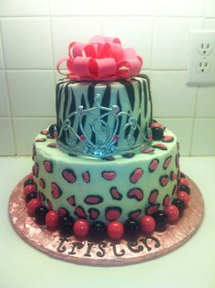 animal print Cake Designs | Zebra & Leopard print cake with crown - Cake Decorating Community ...