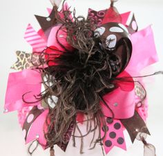 Hot Pink and Brown Bling Over the Top Hair Bow with by sanchezc30, $19.99
