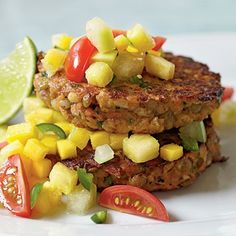 Lentil-Barley Burgers with Fiery Fruit Salsa | CookingLight.com