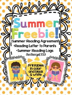 I hope you can use these free resources to encourage your students to read every day over the summer.  Included is a letter to parents, a summer reading agreement, and a summer reading log.  This resources can be used for kids of all ages!  Happy reading this summer!!