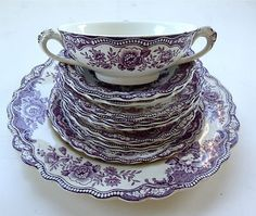 Purple Transferware Dishes |
