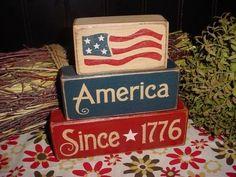 AMERICA SINCE 1776 Flag Patriotic Americana Decor Summer Wood Sign Shelf Blocks Primitive Country Rustic Home Decor Gift