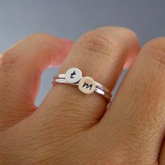 Custom Initial Rings, Set Of Two Sterling Silver Custom Letter Stack Bands on Etsy, $30.00