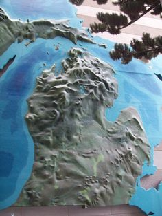 Relief map at the Michigan Historical Museum, Lansing, MI