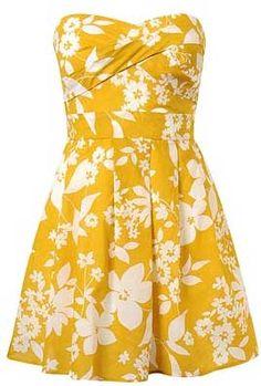 #yellow #white #short #dress
